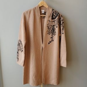 Chico's Long Floral Embroidered Cardigan
